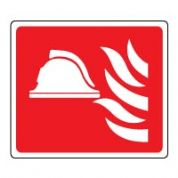 Fire safety sign - Fire Helmet & Flames 126